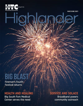 fireworks on the cover of May June 2021 Highlander magazine