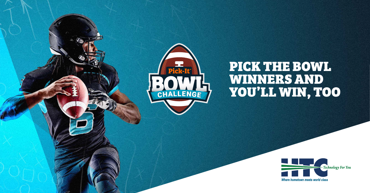 Quarterback preparing to throw football. Pick-It Bowl Challenge. Pick the bowl winners and you'll win, too. HTC. Technology For You. Where hometown meets world class.